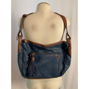 Anthropologie Perlina Navy & Brown Leather Bag